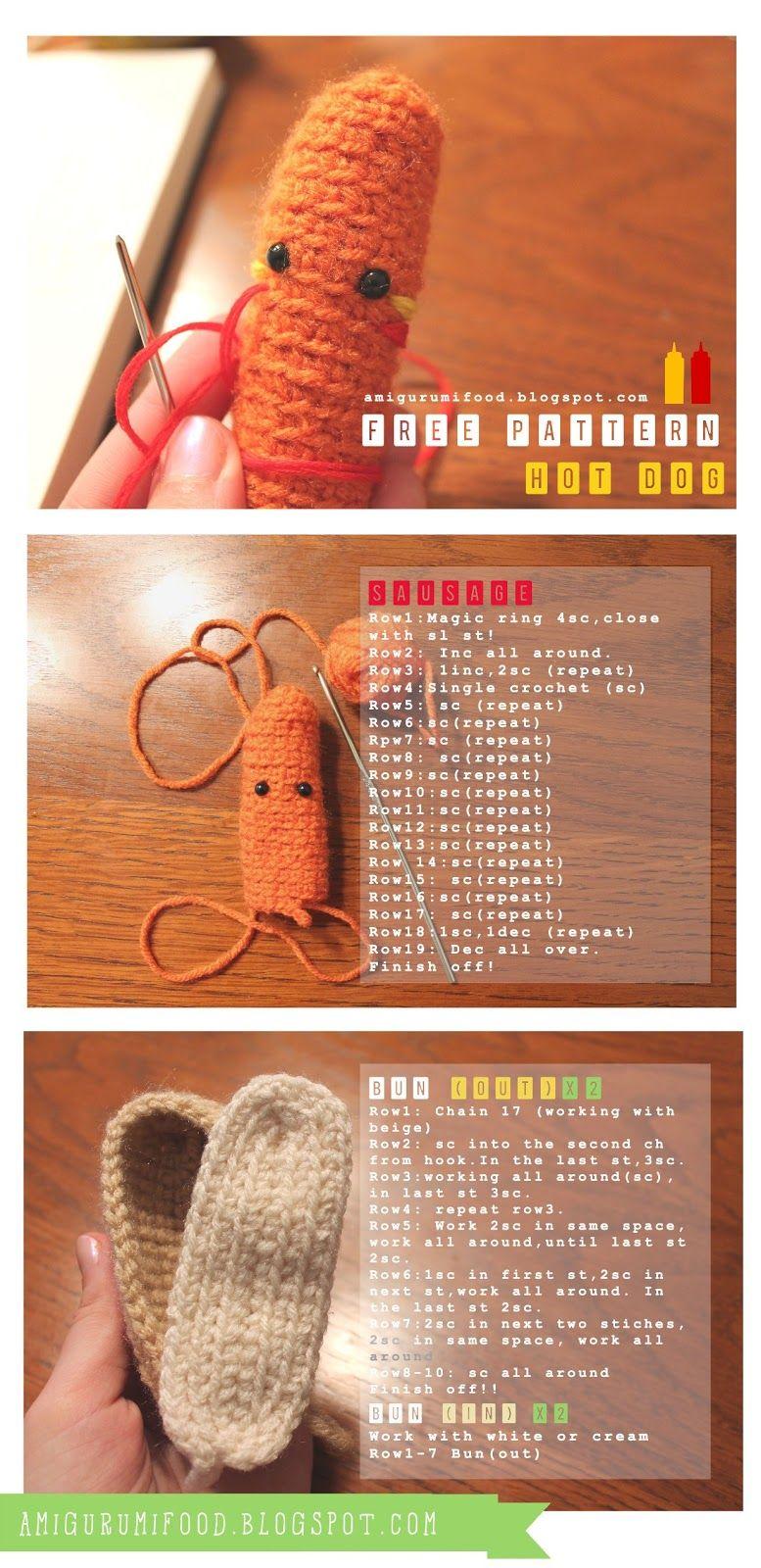 Hot Dog free pattern!!Amigurumi Food and More | Amigurumi food ...