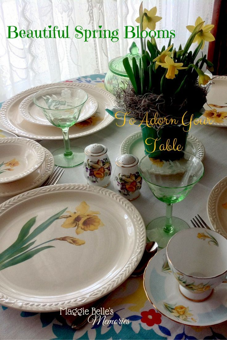 Pretty themed table settings using vintage dinnerware are perfect for a spring garden party a & Pretty themed table settings using vintage dinnerware are perfect ...
