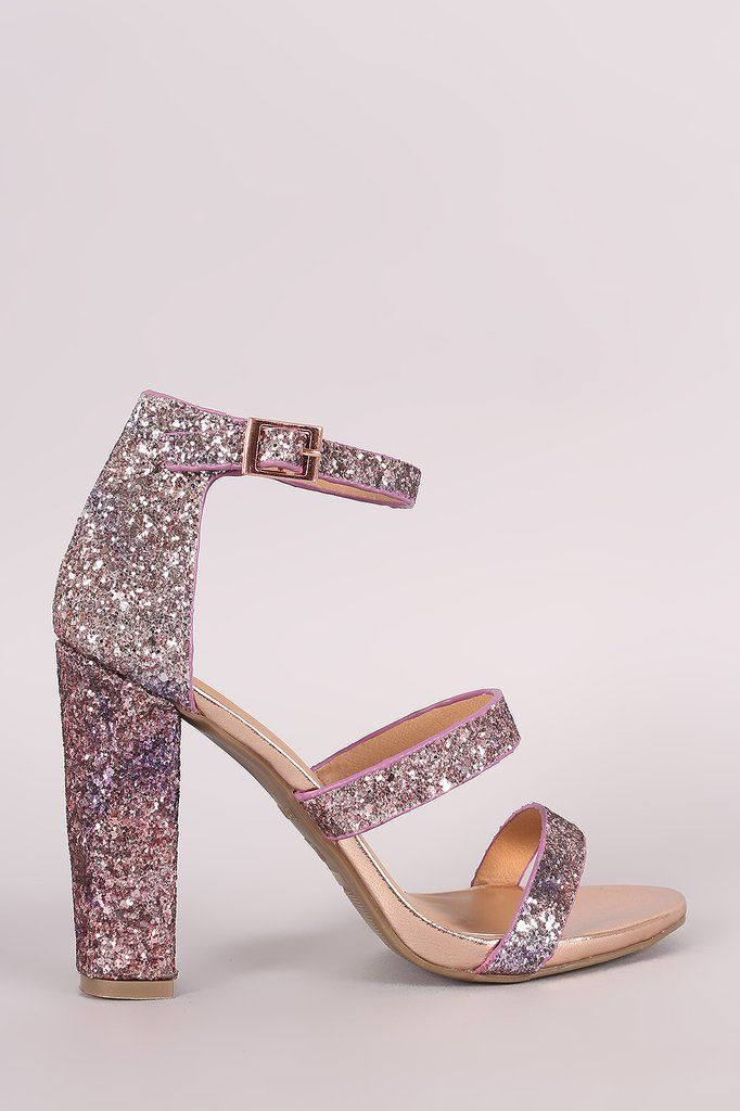 Bamboo Blue Pink Glitter Ombre Three Straps Open toe Chunky Heels Women/'s shoes