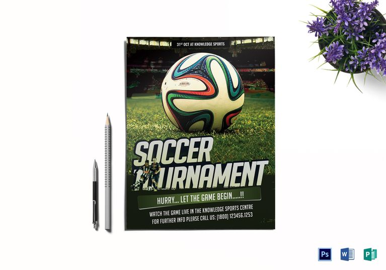 Soccer Tournament Flyer Design Template In Word PSD Publisher