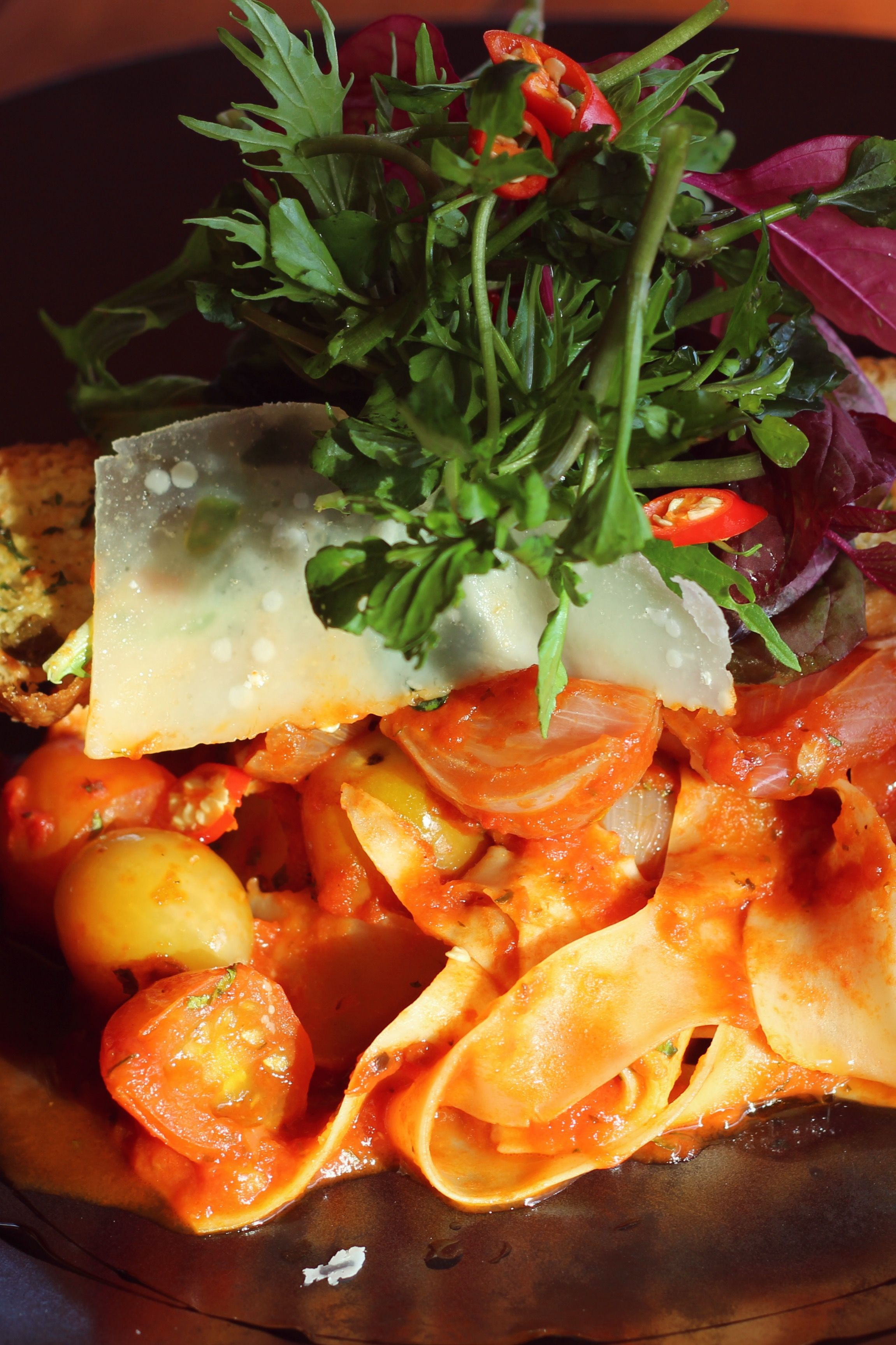 Homemade pappardelle with pomodoro and fresh chili