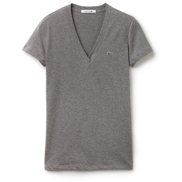 Lacoste V-neck t-shirt in solid jersey (150.755 COP) ❤ liked on Polyvore featuring tops, t-shirts, stone grey, jersey tee, grey t shirt, grey v neck t shirt, v neck t shirts and gray v neck t shirt