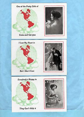 Beautiful Lady Photo, World Globe, Romance, 3 Different 1910 Greeting Postcards