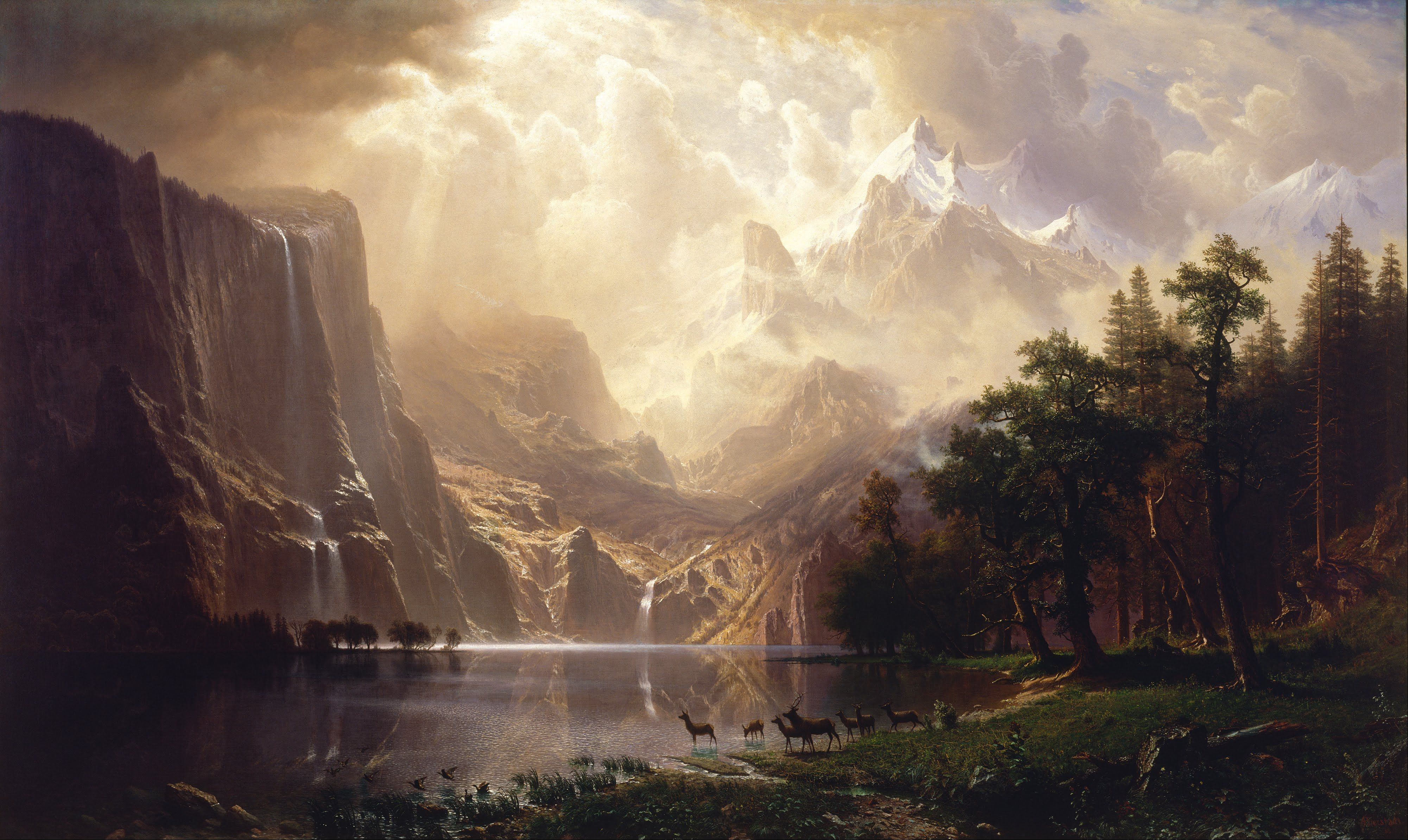 Albert Bierstadt On the Hudson Giclee Canvas Print Paintings Poster Reproduction