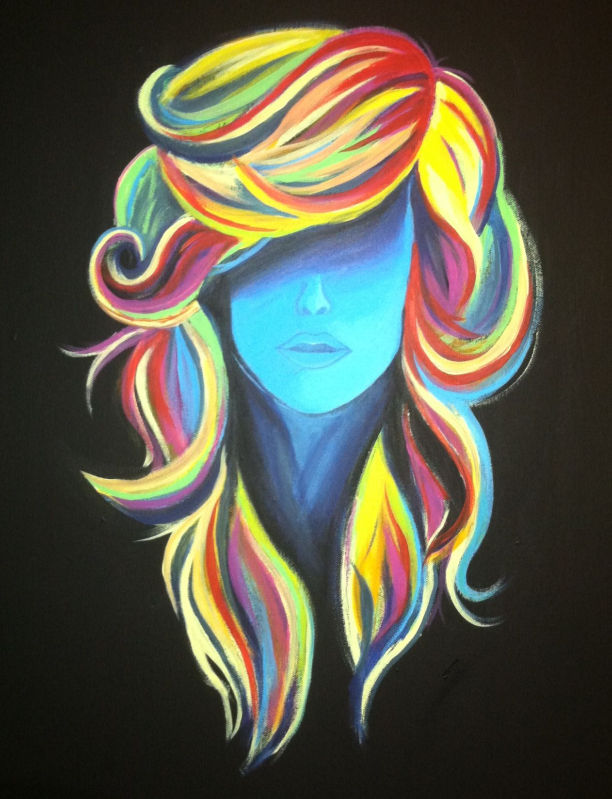 painting of crazy hair deco
