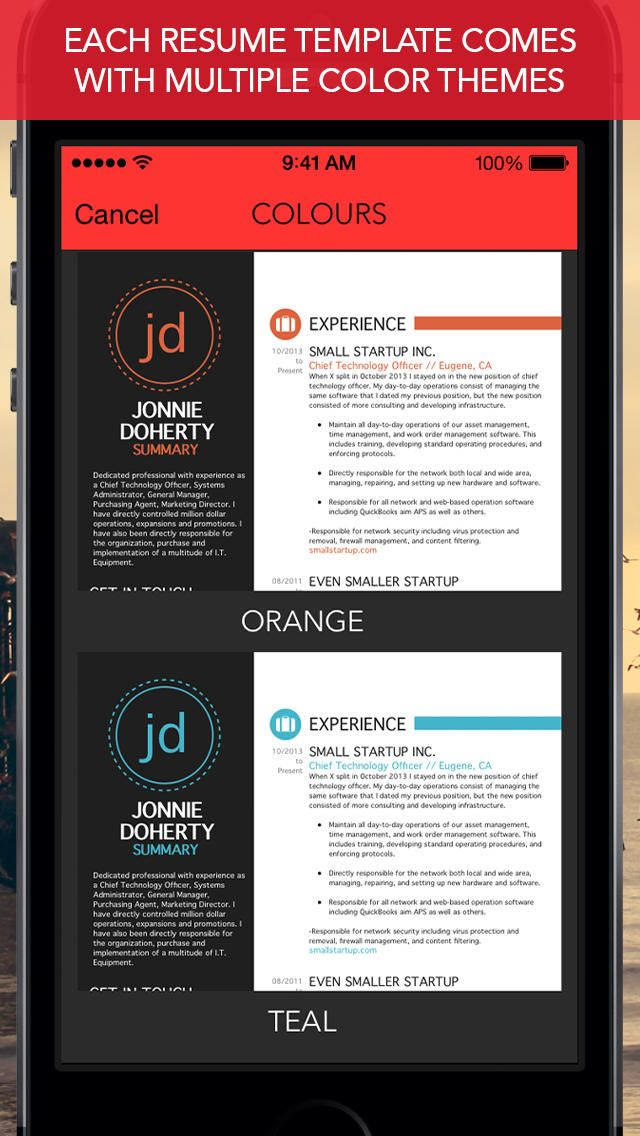 RadResume - Create Professional Resumes, Cover Letters and CVs app - app for resume