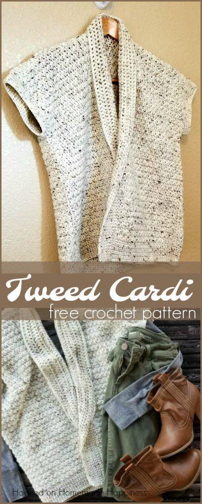 Tweed Cardi Crochet Pattern   Hilo, Abrigos y Ganchillo