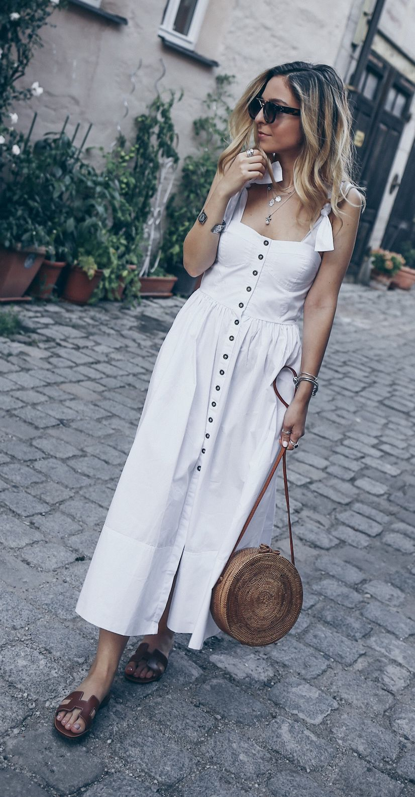 e7567f005bb4 White Dress Summer Boho Long Outfits Hermes Oran Sandals Brown