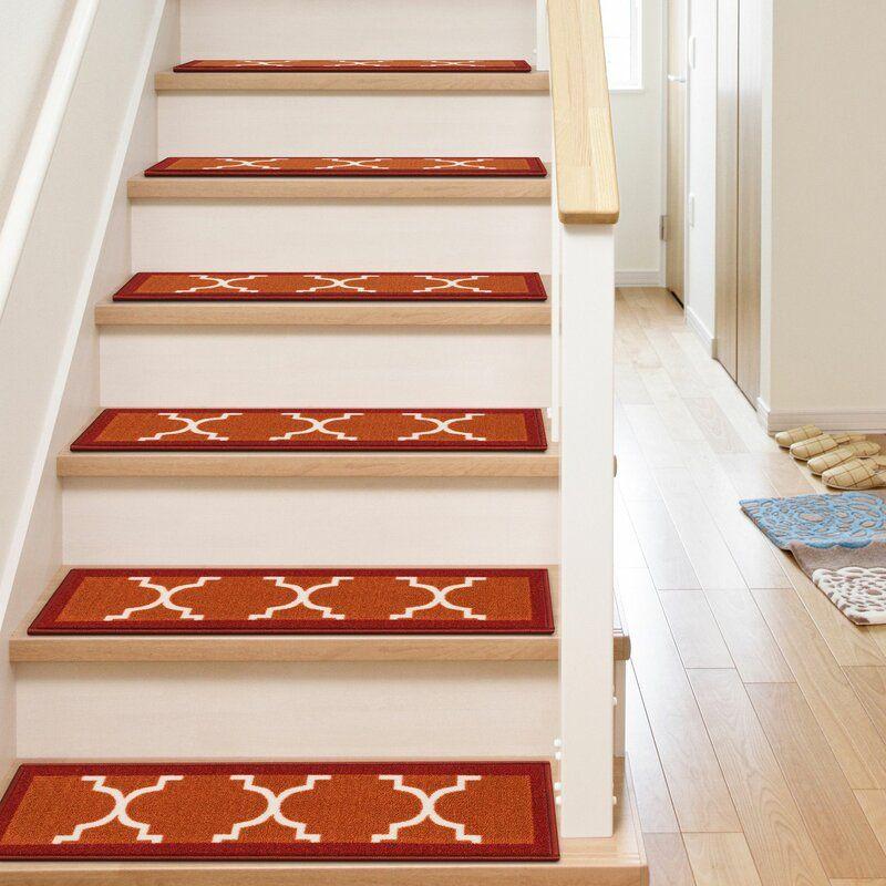 Kings Court Brooklyn Trellis Lattice Non Skid Stair Tread Stair   Wayfair Stair Tread Rugs   Astoria Grand   Beige Carpet   Lis Living   Bullnose Carpet   Non Slip Stair