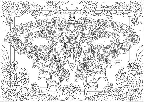 Butterfly Beauty Color By Number Butterfly Coloring Page Paisley Coloring Pages Coloring Pages