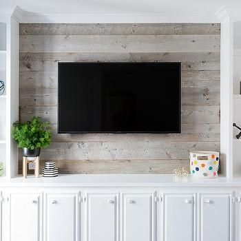 Television On Barn Board Wall Living Room Built Ins Barn Board Wall Wood Shelves Living Room