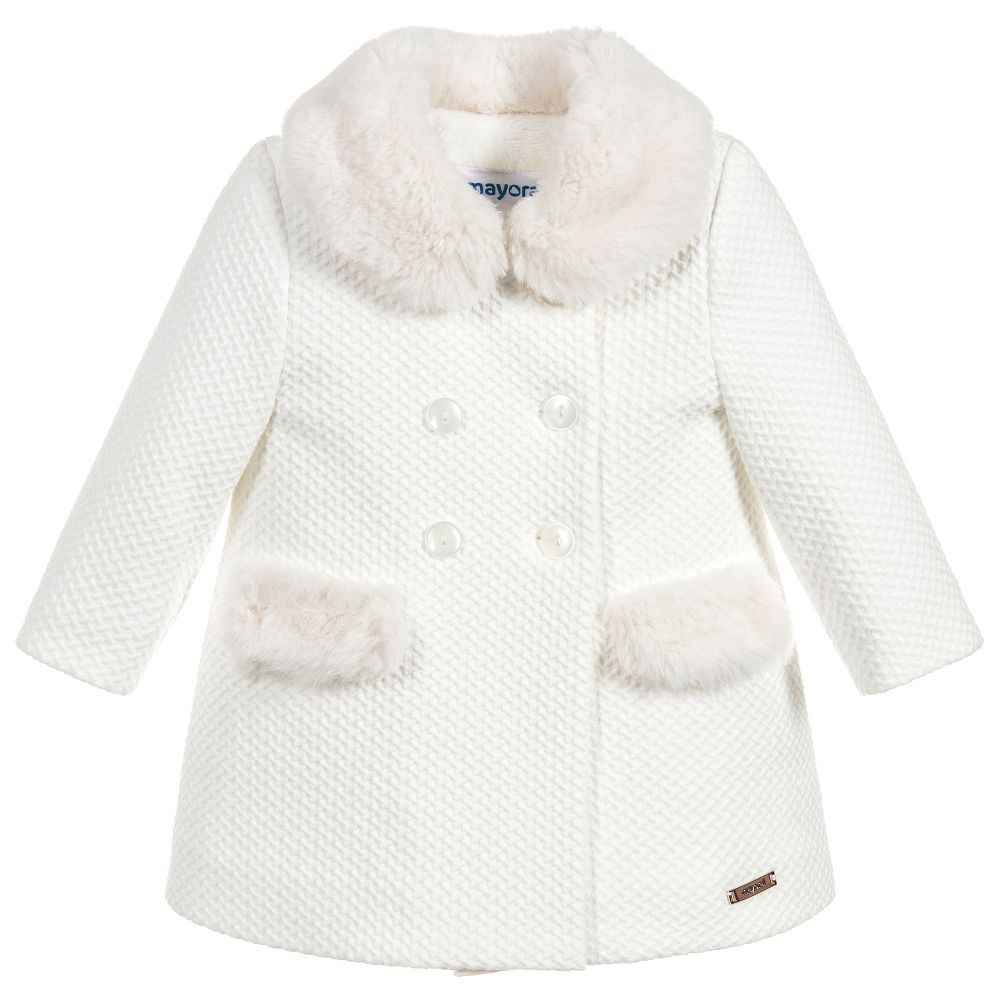 ca133bf02 Girls Ivory Waffle Coat for Girl by Mayoral. Discover more beautiful ...