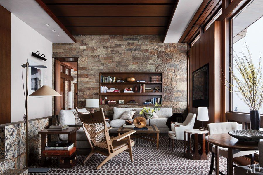 Rustic living room studio sofield architectural digest fireplace the heart this gorgeous from best free home design idea inspiration
