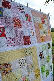 Like this for a baby quilt or for an adult. Give you a lot of options and appears realitively easy.  Maybe a first quilt for Aislinn to make?