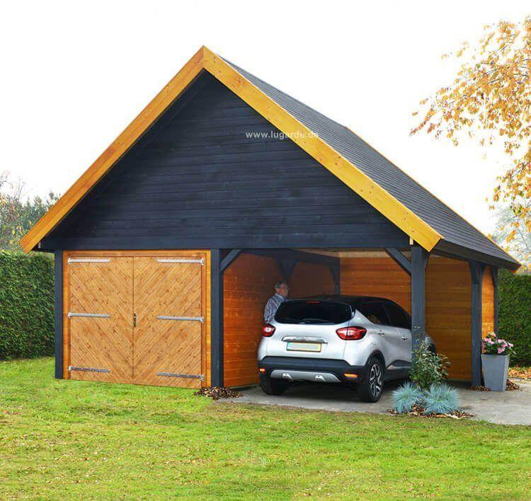 Holzgarage Woodville Ps11 Massarbeit Moglich Lugarde Carport Satteldach Holzgarage Schuppen Ideen
