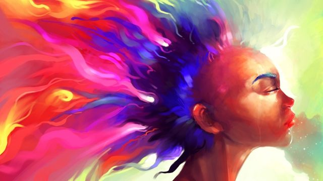 Wallpaper face, hair, paint, colorful, abstract