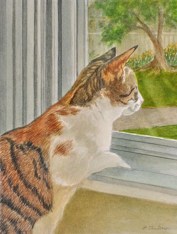 Orange Tabby Print Orange And White Tabby Cat Art Calico Etsy In 2020 Cat Art Watercolor Cat White Tabby Cat