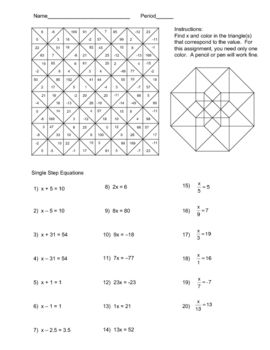 Solving Single Step Equations Color Worksheet School