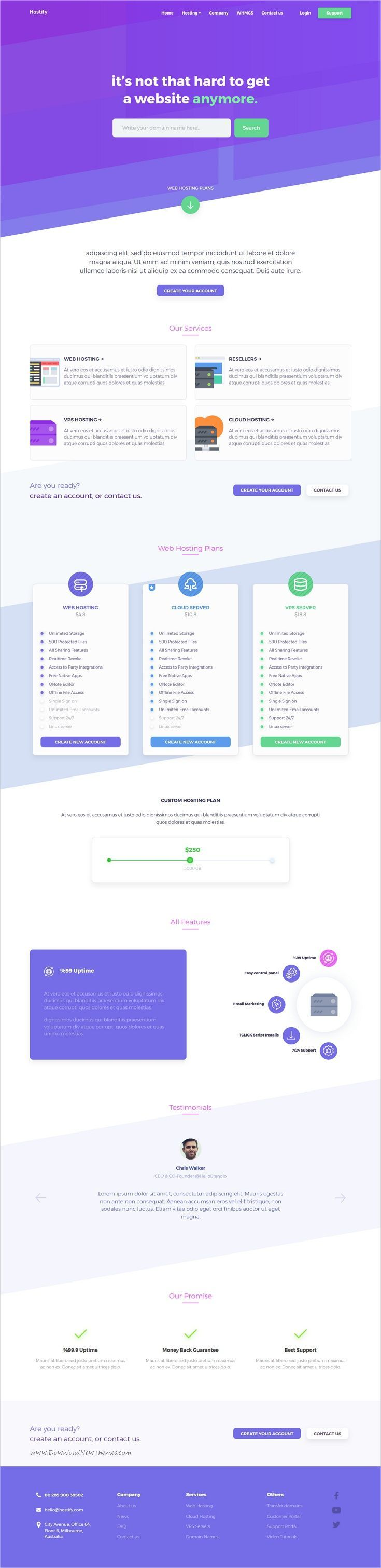 Hostify Is Clean And Modern Design Responsive Bootstrap Template