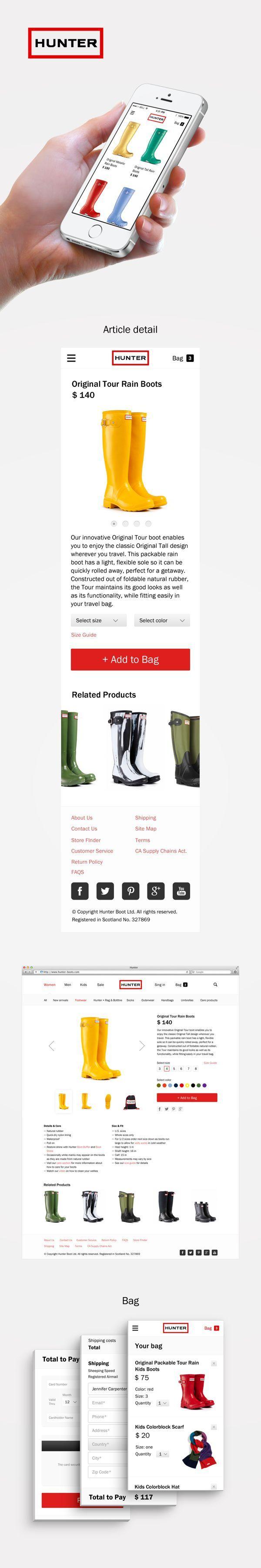Hunter. Mobile site concept | Design: Digital | Pinterest
