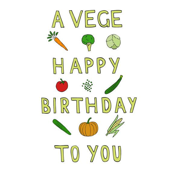 Vege Happy Birthday Card By Toastetc On Etsy 350