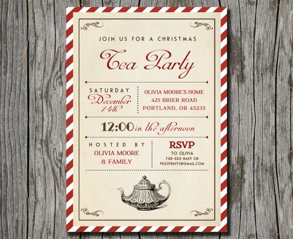 christmas tea party invite printable perfect christmas tea party christmas birthday