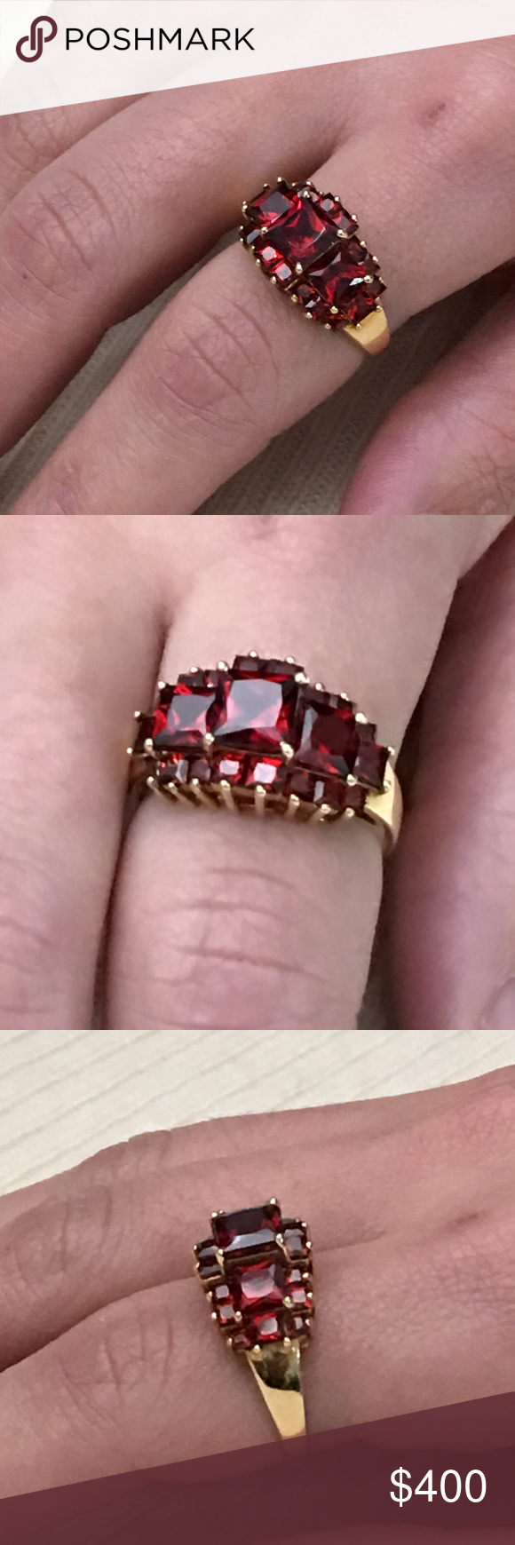 10k Gold 21 Stone Square Garnet Statement Ring | Gold jewellery ...