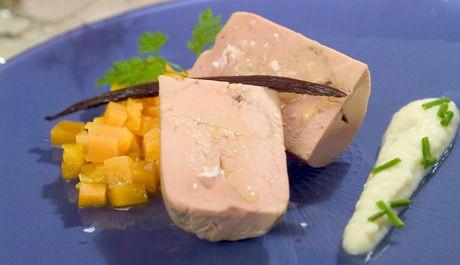 Terrina de foie crema de cebolla y calabaza