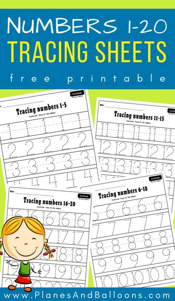 Numbers 1-20 tracing worksheets | Numbers preschool ...