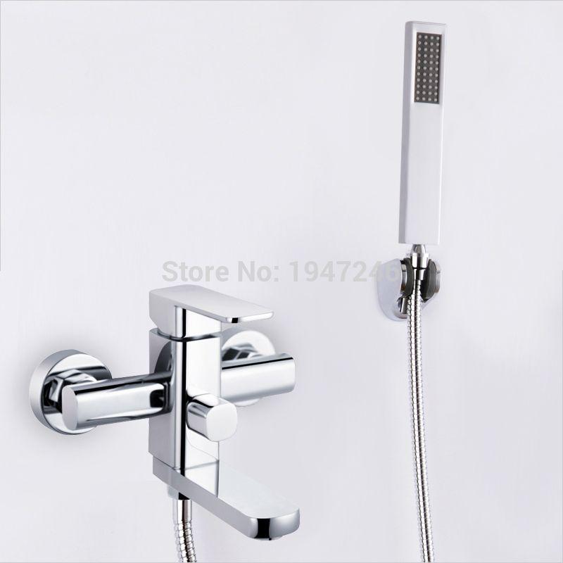 New Brass Chrome Wall Mounted Waterfall Bathroom Bathtub Handheld ...