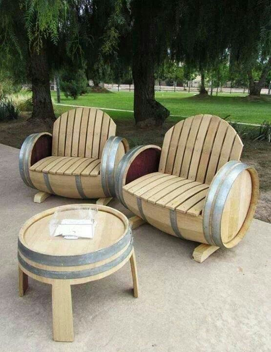 Patio Furniture Made From Wine Barrels