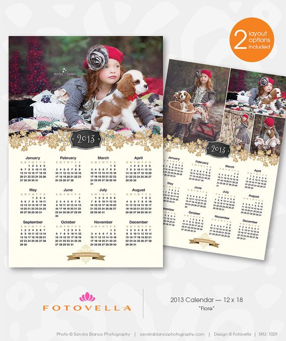 """Fiore"" - 2013 Calendar Photoshop Template for Photographers  by FOTOVELLA    Designer Photoshop Templates for Pro Photographers."