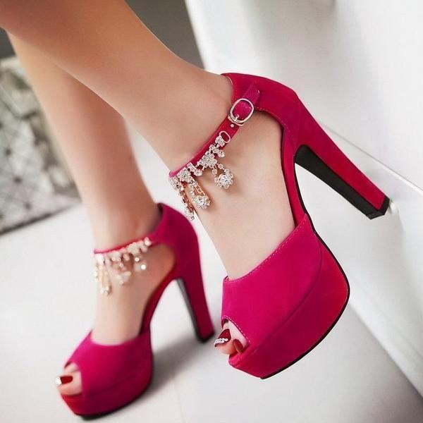 Peep Toe Rhinestone Crystal High Heels Pump Shoes Verkadi.com d767544cd067