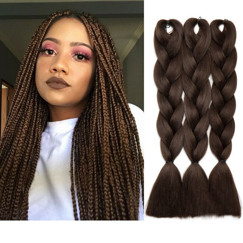 Jumbo Hair Extensions Long Black Braiding Hair Kanekalon Braids For Human Hair In 2020 Jumbo Braiding Hair Braid In Hair Extensions Braided Hairstyles