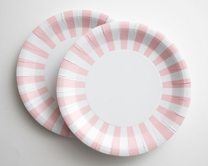 Light Pink and White Striped Paper Plates : pink and white paper plates - pezcame.com