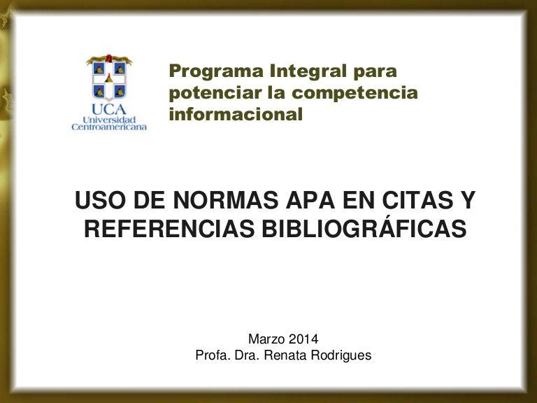 Presentación sobre uso de Normas APA para citas y referencias ...