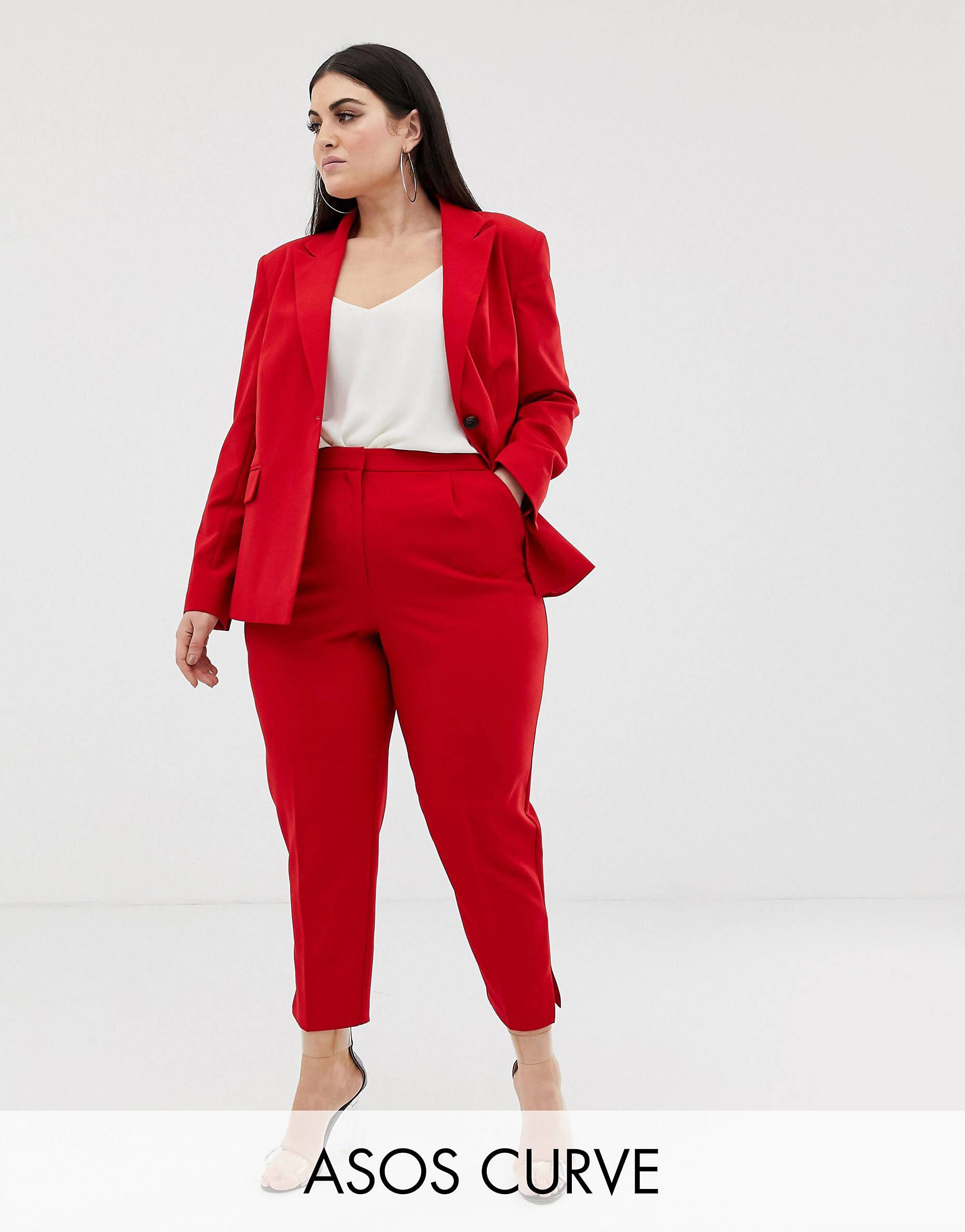 aa55cb73f961 DESIGN Curve red suit slim pants in 2019