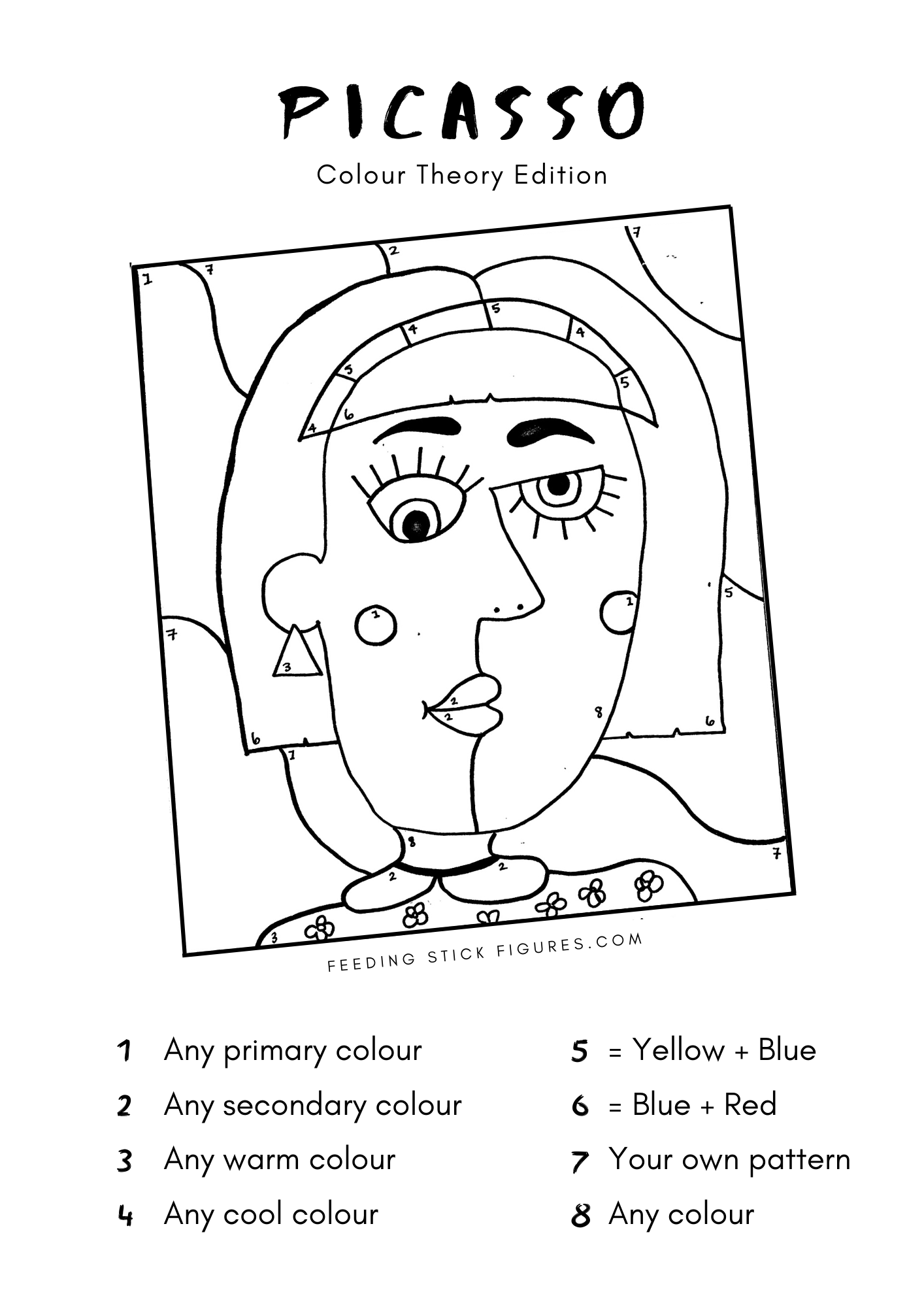Picasso Colour By Numbers Activity Sheet In