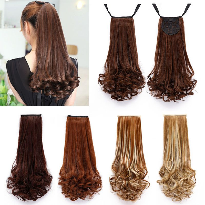 Synthetic Clip-in Extensions Soowee 16 Clips Long Curly Synthetic Hair On Hairpins Blonde Black Clip In Hair Extensions Set Full Head Accessories For Women