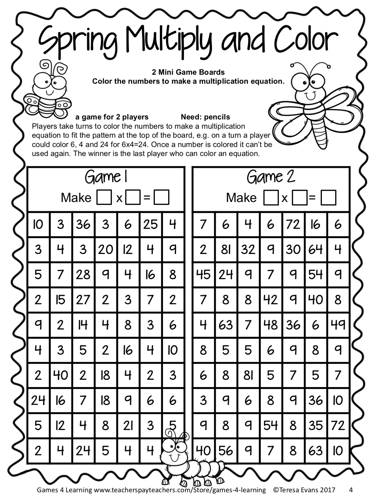 Spring FREEBIE No Prep Print and Play Math Game - Multiplication ...