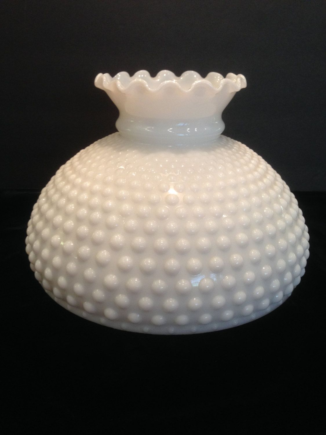Hobnail student milk glass lamp shade hand blown crimp top hobnail student glass milk glass lamp shade hand blown crimp top lighting aloadofball Choice Image