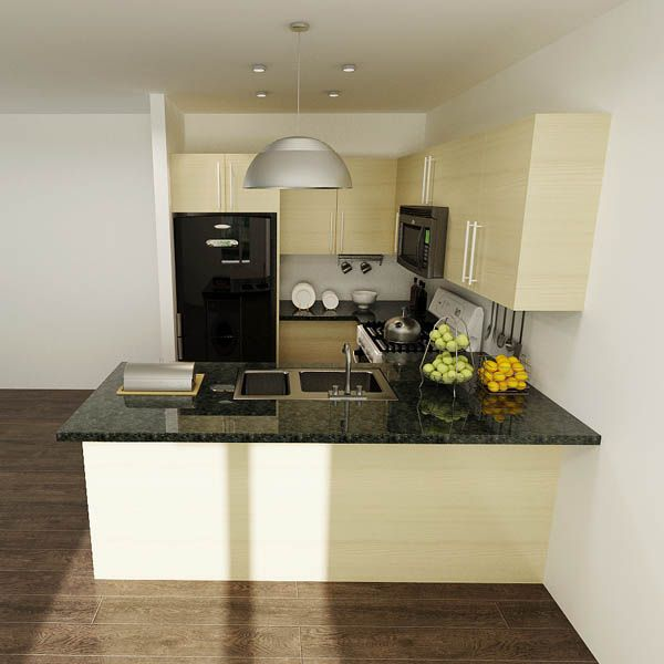 Op14M02 Modern Wood Grain Melamine Modular Kitchen Cabinet Cool Modular Kitchen U Shaped Design 2018