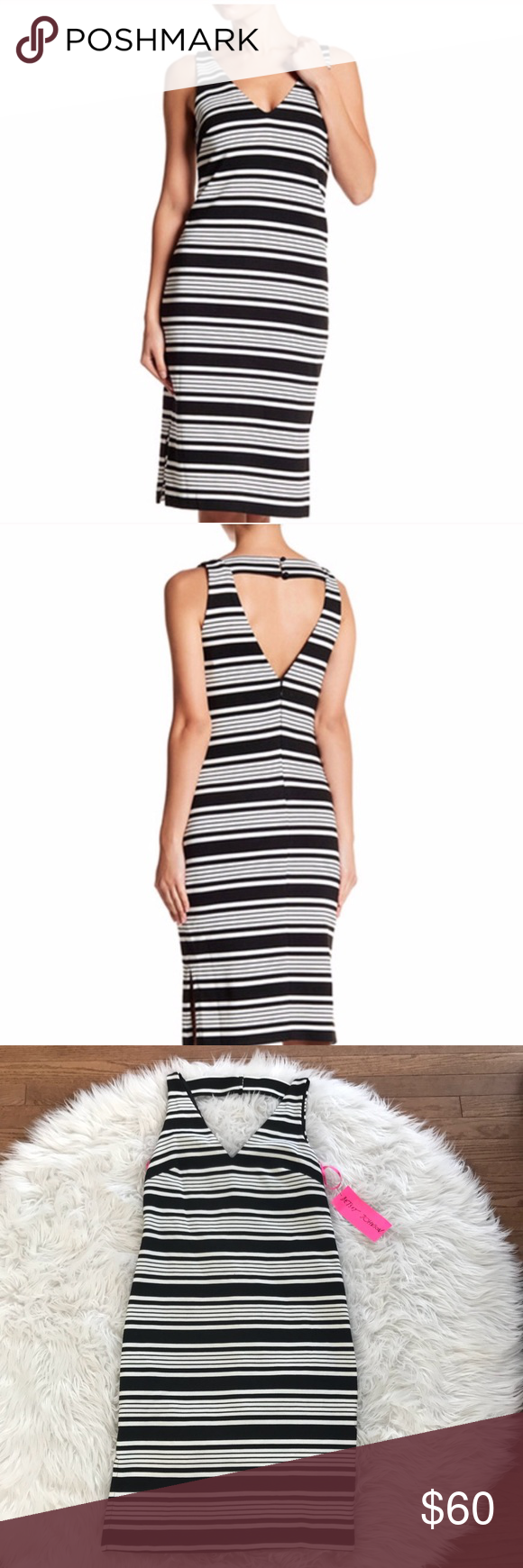 • Betsey Johnson • V Neck Striped Shift Dress 6 •