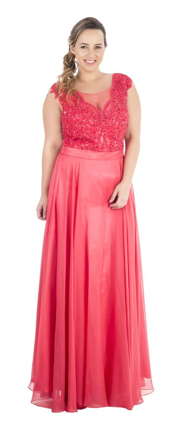 Style and comfort meet in this plus size #purple prom gown. The mock ...