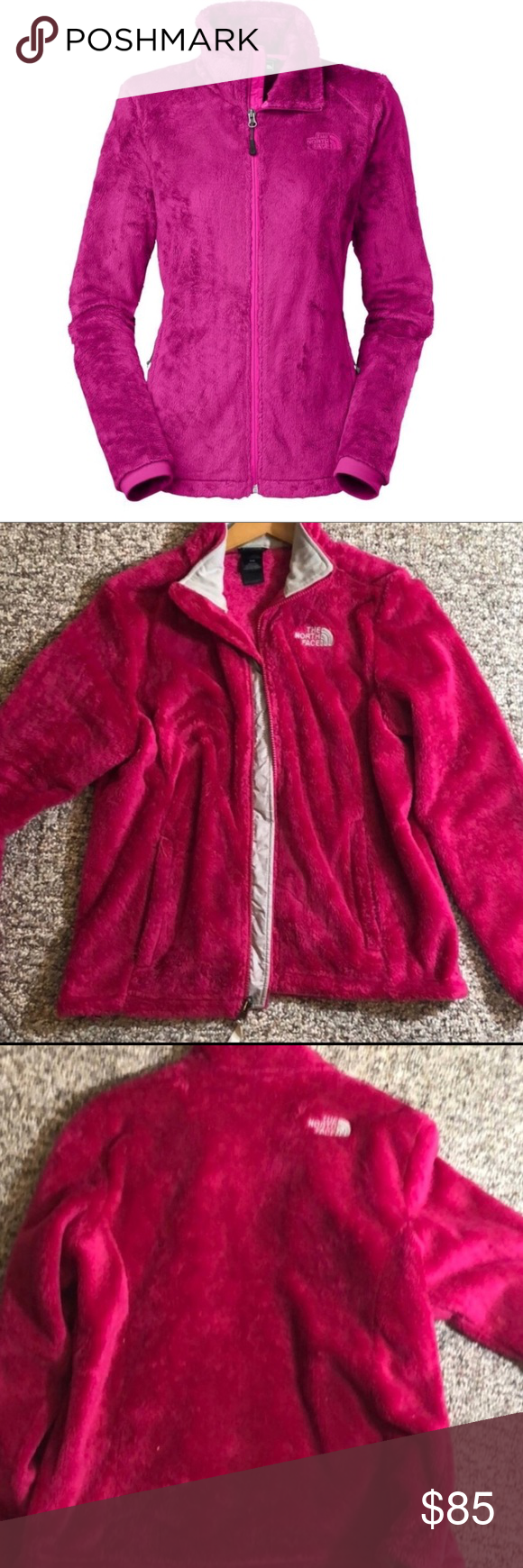 Pink Osito North Face Jacket Pink Fuzzy Jacket With Grey Lining And Symbol On Chest 2 Pockets And Zippers U Pink Fuzzy Jacket North Face Jacket Clothes Design [ 1740 x 580 Pixel ]