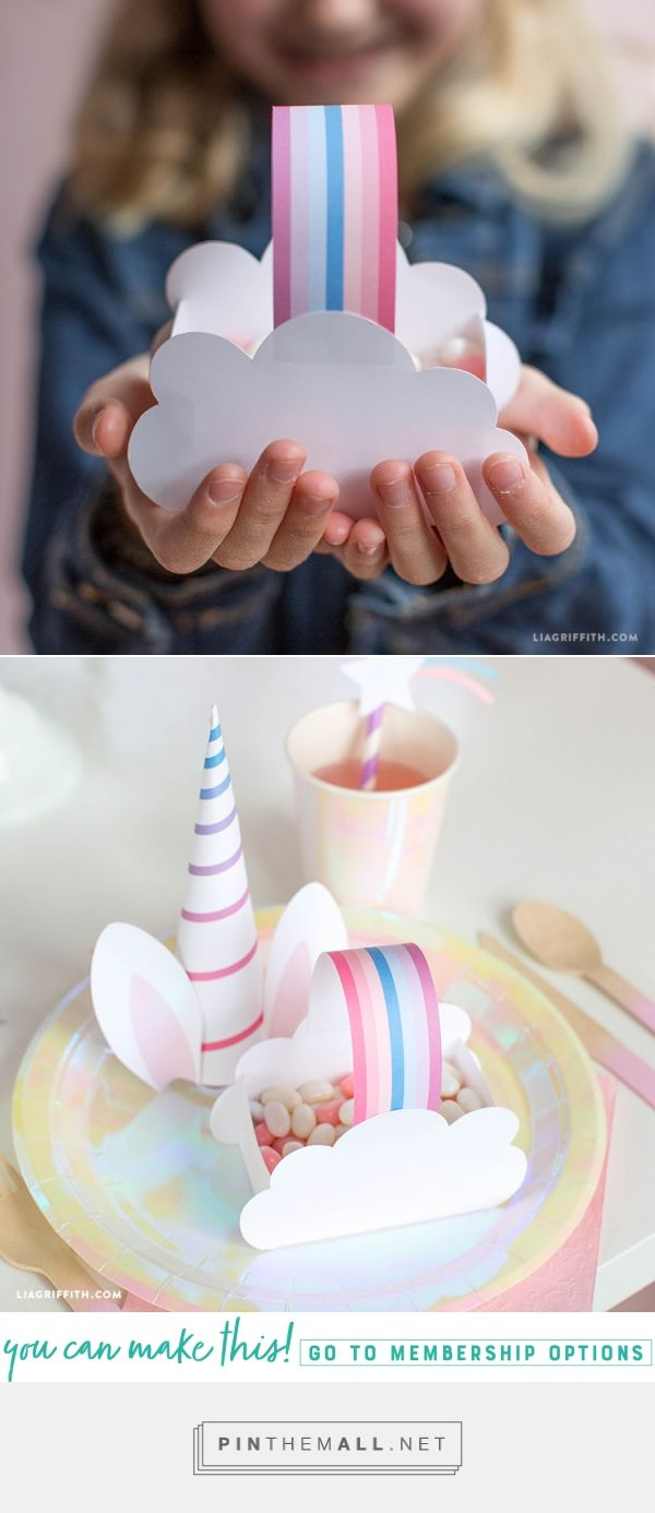 Make these rainbow candy baskets for your next party - Diy birthday party, Candy basket, Rainbow candy, Diy party, Unicorn party decorations, Unicorn birthday parties - Fill your candy baskets with fun goodies to put your guests on cloud 9  You can even add some small gold coins to transform them into little pots of gold