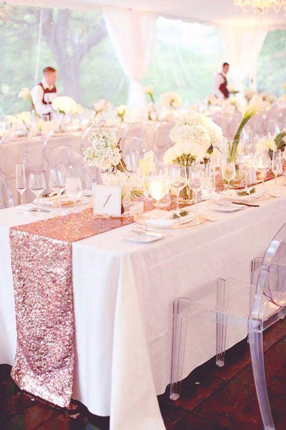 Fall Wedding Table Decor Rose Gold Sequin Runner For