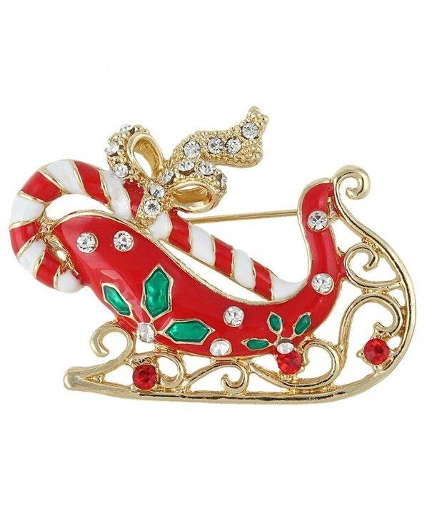 e5addb42820e5 Red Santa Claus Sleigh Candy Cane Bowknot Brooch Austrian Crystal ...