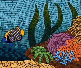 Fish Mosaic Designs Closeup Of Angel Cs On Reef Mural Created In Ceramic