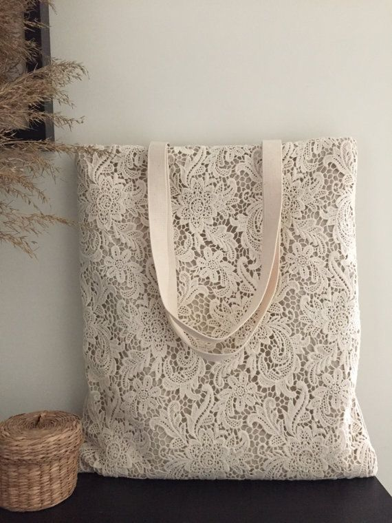 Handmade Shabby Chic Cotton Wedding Bag, Lace Bag, Lace Tote, Vintage Style, Ivory/Off White, Make to Order, L066